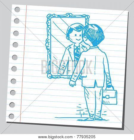 Businessman looking himself in mirror