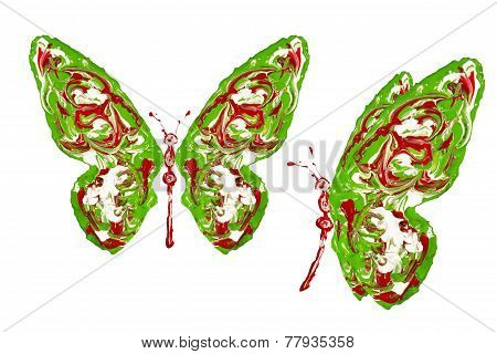 Red Green White Paint Made Butterfly Set