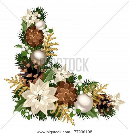 Vector Christmas decorative corner with fir branches, silver balls, poinsettia flowers, cones, holly