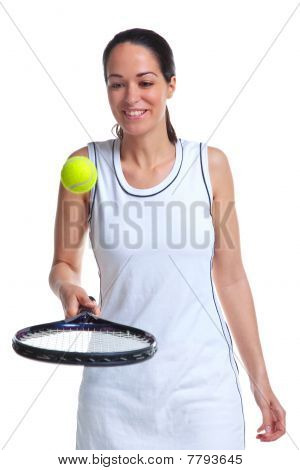 Woman Tennis Player Bouncing Ball On Racket