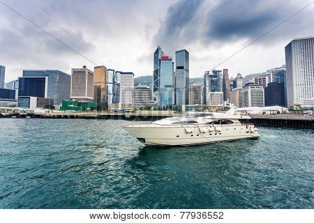 yacht,cityscape and harbor of hongkong