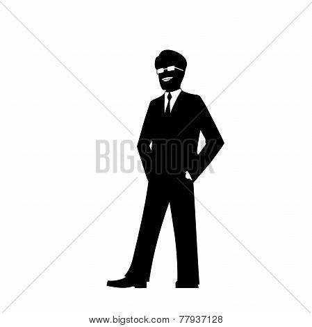 smiling businessman silhouette