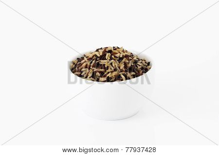 Brown, Red And Black Rice Mix In A Bowl