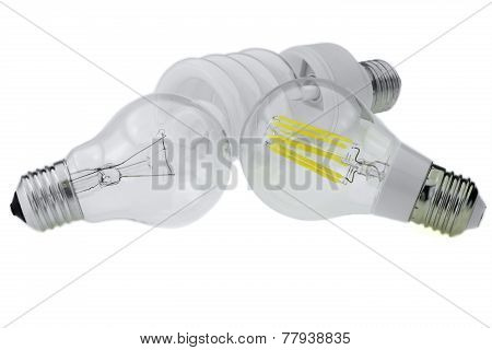 Eco Led E27 Bulb, Classic Tungsten And Compact Fluorescent Lamp