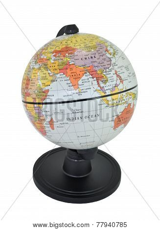Isolated World Globe Featuring India