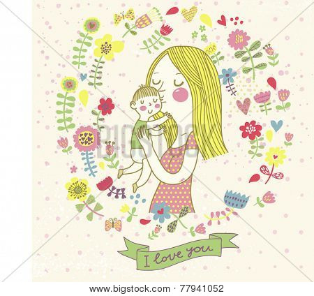 I love you background. Cute retro vector card with mother and child. Happy mothers day. Vintage floral background with woman and baby.