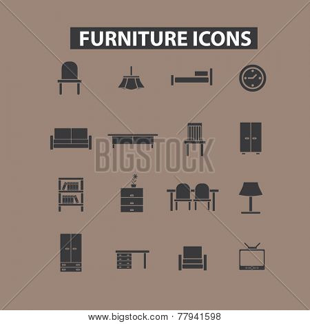 furniture, interior, room icons, signs set, vector