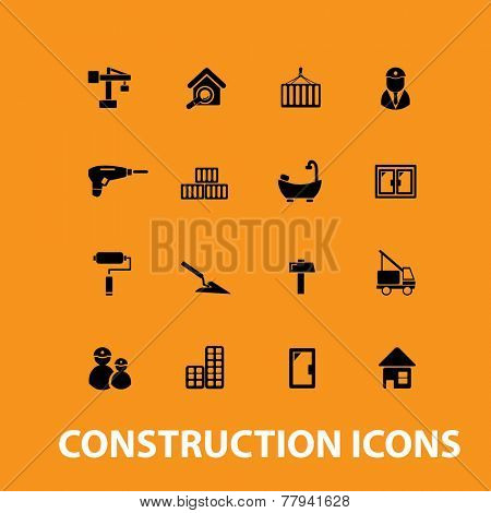 construction, house renovation icons, signs set, vector