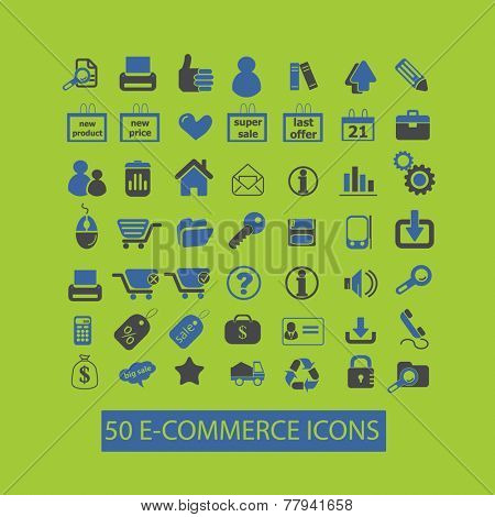 e-commerce, internet retail icons, signs set, vector