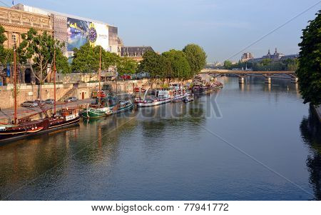 Old Sailing Ships, Boats & Barges On The Seine River, Paris France.
