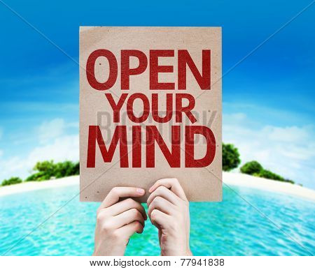 Open Your Mind card with a beach on background