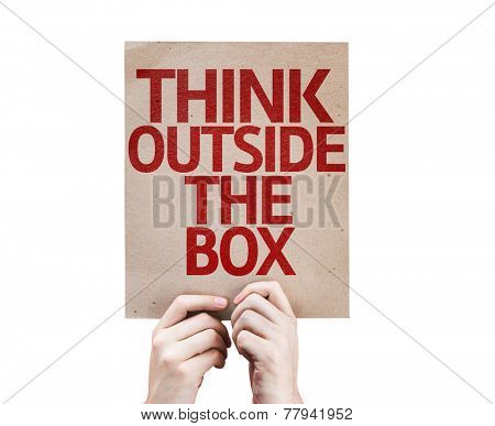 Think Outside the Box card isolated on white background