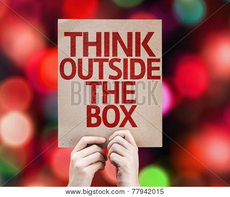 Think Outside the Box card with colorful background with defocused lights