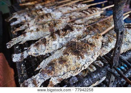 Grilled Salty Fish Skewer