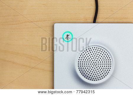 Microphone Icon Switch, And Loudspeaker On Wood Background For Conferencing Room