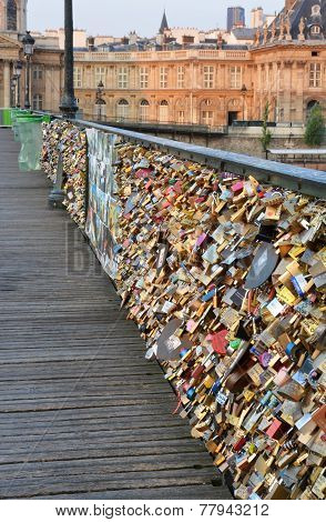 Closeup Of Love Locks On The Pont Des Arts Bridge, Paris France.