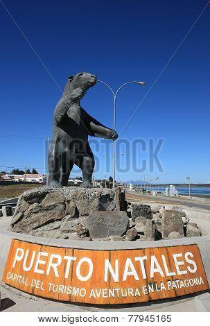 Milodon statue, Puerto Natales, Patagonia