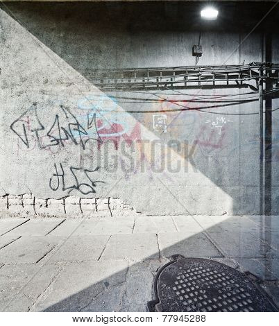 Abstract double exposure urban background.