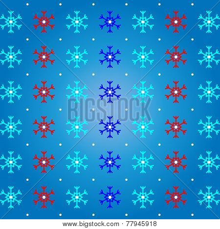 Snow And Snowflake On Blue Pattern Background