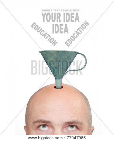 Hairless men's head with funnel and space for your text . Education concept.