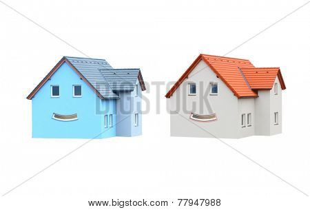 New houses with smiley face isolated on white background.. Happy living concept.