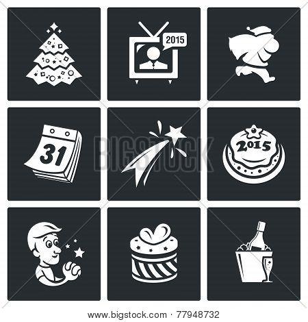 New Year Icons Set