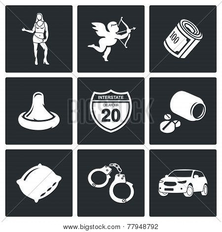 Street Prostitution Vector Icons Set