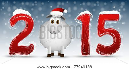 2015 Happy New Year background with  sheep.