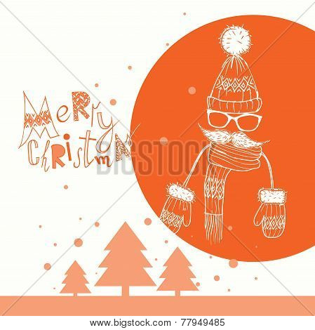 Christmas Background on Hipsters Style