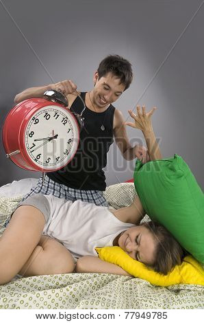 Couple waking up in the morning