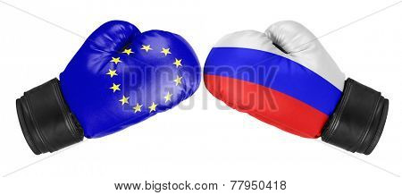 Russia vs EU. Boxing gloves with EU and Russia flag. Isolated on white.