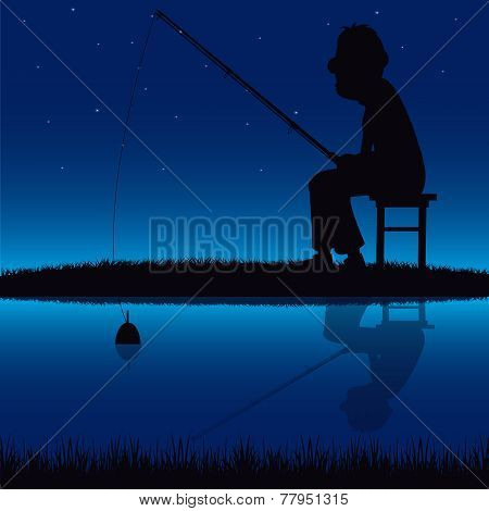 Silhouette of the fisherman beside yard