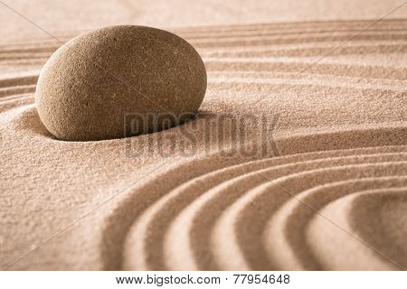 spirituality stone and lines in sand, Japanese garden for balance harmony purity and spiritual guidance rock background