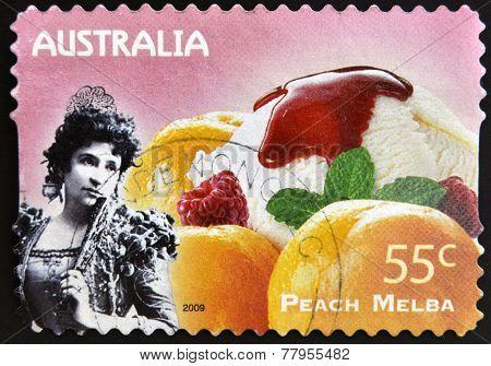 AUSTRALIA - CIRCA 2009: A stamp printed in Australia shows Not Just Desserts - Peach Melba circa 200