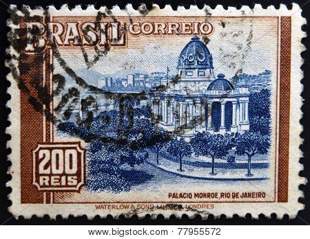 BRAZIL - CIRCA 1962: A stamp printed in Brazil shows Monroe Palace Rio de Janeiro circa 1962