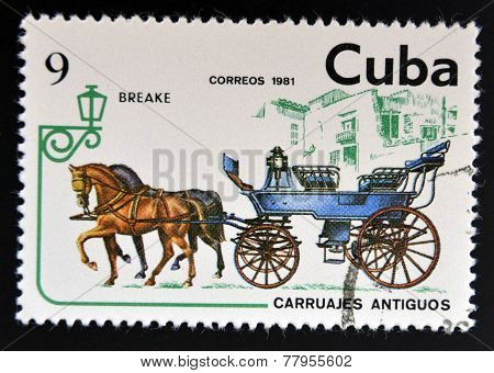 CUBA - CIRCA 1981: A stamp printed in Cuba dedicated to antique carriages shows Breake circa 1981