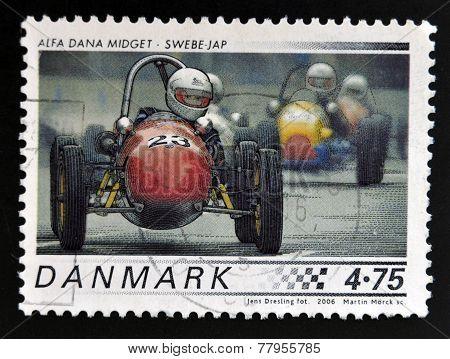 DENMARK - CIRCA 2006: A stamp printed in Denmark shows 1958 Alfa Dana Midget Swebe - JAP circa 2006.