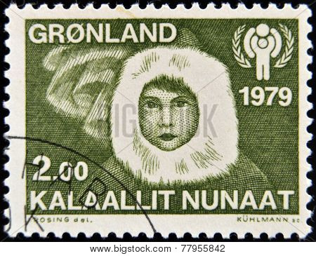 GREENLAND - CIRCA 1979: A stamp printed in Greenland shows Eskimo child