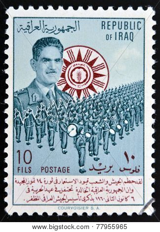 IRAQ - CIRCA 1949: A stamp printed in Iraq shows image of a marching band circa 1949