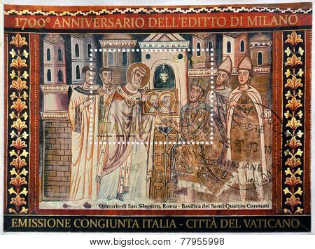 ITALY - CIRCA 2013: A stamp printed in Italy dedicated to anniversary of the Edict of Milan