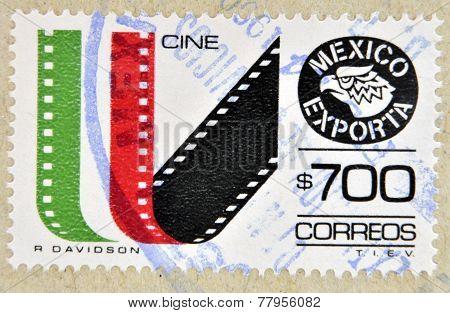 MEXICO - CIRCA 1987: a stamp printed in the Mexico shows cine-film Mexican Export circa 1987