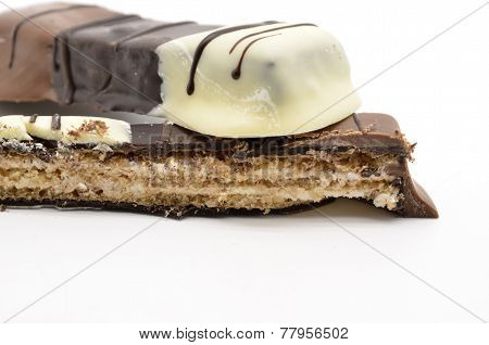 delicious chocolate bars on a white background