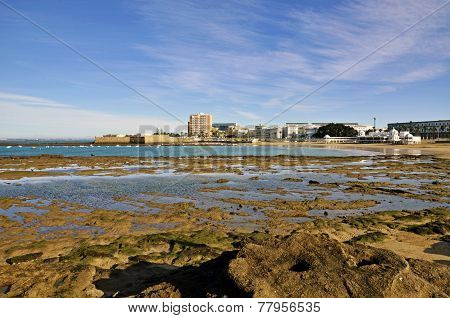 Landscape of the beach of La Caleta on the province of Cadiz on Spain