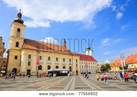 Old Town Square in the historical center of Sibiu, Romania