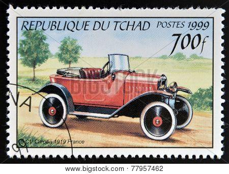 CHAD - CIRCA 1999: A stamp printed in Chad shows retro car Citroen 1919 France circa 1999