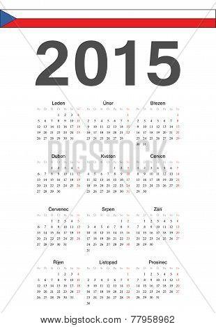 Czech 2015 Year Vector Calendar