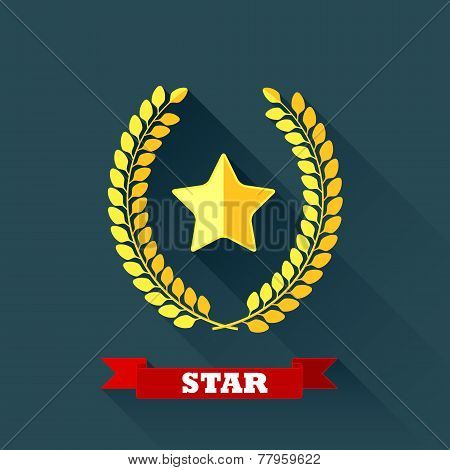 vector illustration with laurel wreath and star in flat design with long shadow