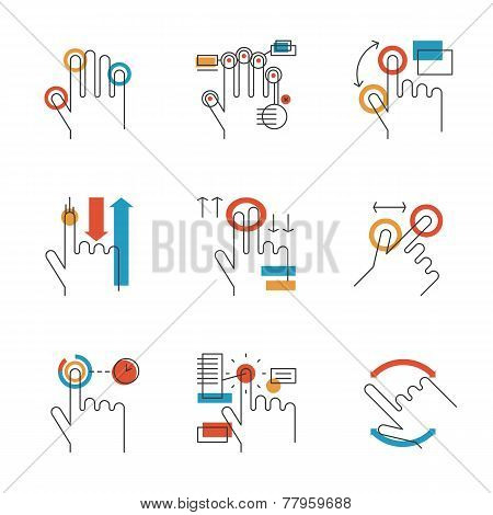 Multitouch Gestures Line Icons Set