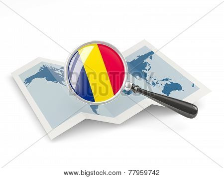 Magnified Flag Of Chad With Map