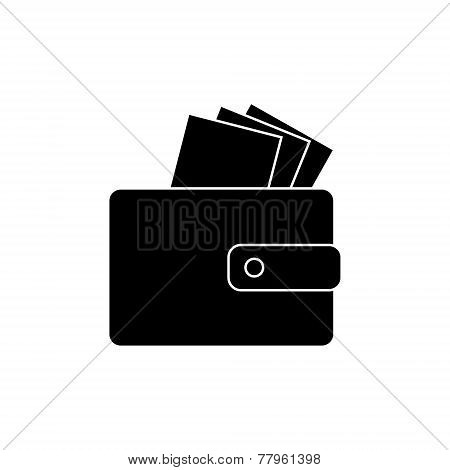 Icon - wallet with bills, money. Design in the flat style. vector.